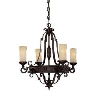 Capital Lighting 3604RI 279 Chandelier with Rust Scavo Glass Shades, Rustic Iron Finish