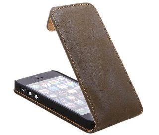 iTALKonline Apple iPhone 5 (2012) iPhone 5S (2013) PREMIUM COFFEE BROWN SOFT FEEL VELVET Easy Clip On Vertical Flip Wallet Pouch Case Cover with Holder Cell Phones & Accessories