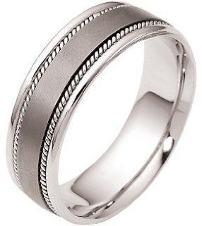 Rope Style Titanium & 14 Karat White Gold 7mm Wedding Band Jewelry