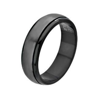 Inox Jewelry Men's Stainless Steel Black IP Spinner Ring Body Candy Jewelry