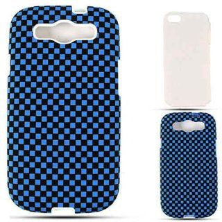 Cell Armor I747 PC JELLY 3D309 Samsung Galaxy S III I747 Hybrid Fit On Case   Retail Packaging   3D Embossed Blue/Black Checkers Cell Phones & Accessories