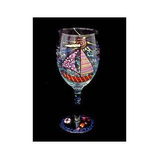 Sailboat Regatta Design   Hand Painted   Wine Glass   8 oz Kitchen & Dining