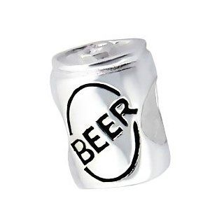 925 Sterling Silver Beer Can Charm Bead Fits Pandora Troll Beads Biagi Chamilia Jewelry