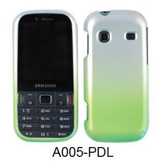 SHINY HARD COVER CASE FOR SAMSUNG GRAVITY TXT T379 TWO COLOR SILVER GREEN Cell Phones & Accessories