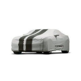 2010 2012 Chevrolet Camaro Custom Fit Car Cover OEM Outdoor   Gray with Black Stripes, Camaro Logo   Fits Coupe 92215994 Automotive