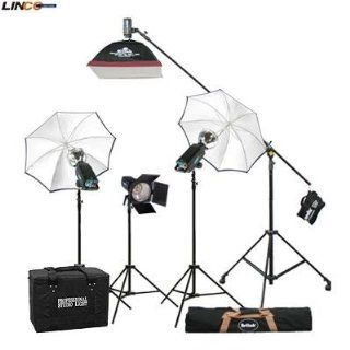 Britek#1760SKB Photography Studio Lighting Kit 1760w Flash Light with Strobe Light +Linco#8308new 8308 Compact Light Stand+Studio Boom stand, + High Reflecting White Photo Umbrella, +Softbox+Barndoor+Carrying Case+Reflector+Strobe Light+Carrying Bag for 40