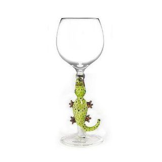 Wine Glass by Yurana Designs Hand Blown Alligator   W143 Kitchen & Dining