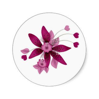 cranberry colored  flower with hearts round stickers
