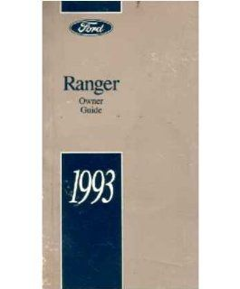 1993 Ford Ranger Owners Manual User Guide Reference Operator Book Fuses Fluids Automotive