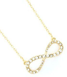 Gold Rhinestone Infinity Necklace Crystal Infinity Charm Chain Necklaces Jewelry