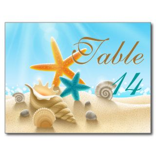 Orange & aqua starfish beach wedding table number post card