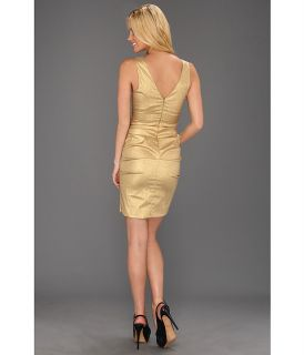 Nicole Miller Stretch Lamé V Neck Tucked Dress Gold