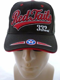 PREMIUM Red Tails Tuskegee Airmen Redtails Cap/ Hat, 332nd Fighter Group, 1941, 332 Red Tails, WWII, BLACK Baseball Cap with Red, White and Sky Blue Embroidered Details, Air Force Hat, African American Heroes, Military Service, Heroes In Time and Space, Ad