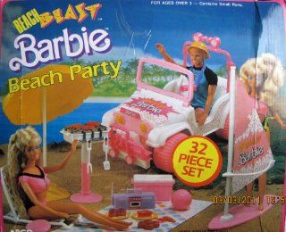 "Beach Blast BARBIE Beach Party 32 Piece Play Set w ""Jeep"", Surf Board & Sail, BBQ, & MORE (1988 Arco Toys, Mattel) Toys & Games"