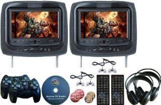 "New Black Color Pair Headrest 9"" LCD Car Monitors with DVD players 2 Dual Channel Headphones USB SD Inc. 32 Bit Game and 2 Wireless game controllers 8 Bit Game and 4 Wired Controllers RCA Video input & RCA Video OutPut  Vehicle Headrest Video"