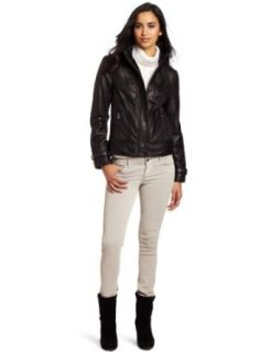 Via Spiga Women's Scuba Leather Jacket With Slimming Ruching Detail, Black, Small