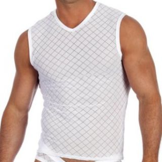 Activ Muscle Shirt White Men's V Neck Sleeveless Top By Gregg Homme Size X Large Clothing