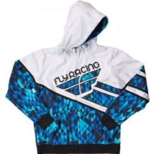 Fly Racing Fly Racing Kinetic Hooded Sweatshirt / Jacket. Hoodie. Midweight Fleece. Embroider. Kangaroo Pockets. (Blue/White) 354 0081 Automotive
