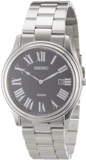 Seiko Men's SKP347 Black Dial Stainless Steel Watch at  Men's Watch store.