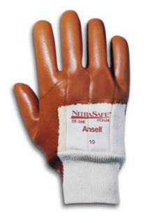 Ansell Nitrasafe 28 348 Foam Nitrile Glove, Cut Resistant, Palm Coated on Kevlar and Jersey Liner, Large (Pack of 12 Pairs) Science Lab Chemical Resistant Gloves