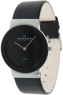 Skagen Men's 358LSLB Black Leather Analog Quartz Watch with Black Dial at  Men's Watch store.