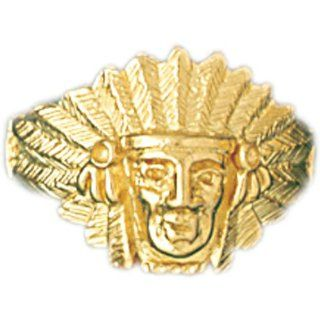 14K Yellow Gold Indian Head Men's Ring Jewelry