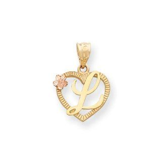 The Talia 15mm Script Initial L Heart Pendant in 14K Two Tone Gold Jewelry
