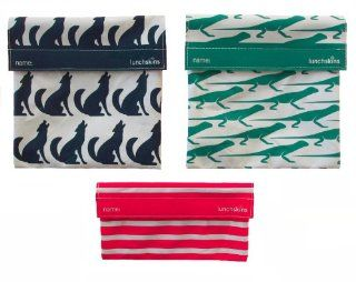 LunchSkins Reusable Sandwich and Snack Bags Set   3 Pack   Blue Wolf, Green Lizard, Red Stripes Sports & Outdoors