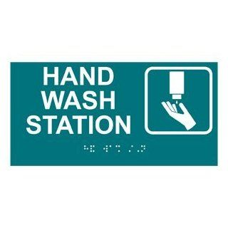 ADA Hand Wash Station Braille Sign RSME 369 SYM WHTonBHMABLU  Business And Store Signs