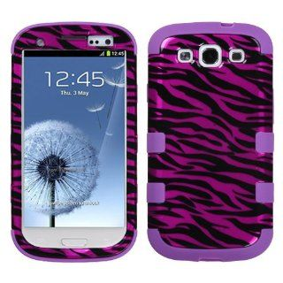 MyBat Samsung Galaxy S III TUFF Hybrid Phone Protector Cover   Retail Packaging   Zebra Skin Hot Pink/Black/Electric Purple Cell Phones & Accessories