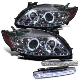 2010 TOYOTA COROLLA HALO HEAD LIGHTS PROJECTOR HEADLIGHTS + 8 LED BUMPER LAMPS Automotive