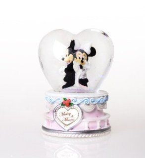 Disney Mickey Mouse & Minnie Mouse Heart Shape Crystal Ball Decoration   Home Decor Collectible Dolls