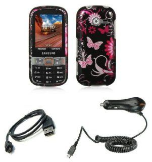Samsung Array / Montage SPH M390 Combo   Pink Butterfly Flowers Design Shield Case + Atom LED Keychain Light + Micro USB Cable + Car Charger Cell Phones & Accessories