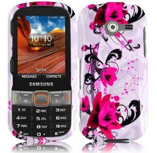 White Purple Flower Hard Cover Case for Samsung Array Montage SPH M390 Cell Phones & Accessories