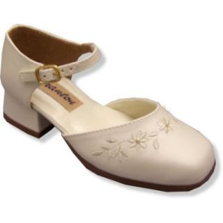 Girl Ivory Dress Shoes ~ Granton Split Mary Jane with Embroidery 3145 SIZE 7.5 Shoes
