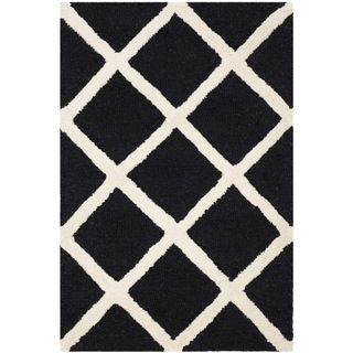 Safavieh Diamond patterned Handmade Moroccan Cambridge Black Wool Rug (2 X 3)