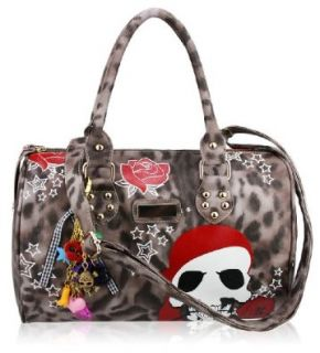 Womens Brown Skull Tote Handbag   Brown Leopard Print Bag Shoes