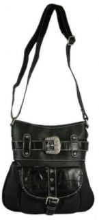 Western Style Faux Leather Cross Body Bag with Moc Croc Trim and Bling Rhinestone Buckle   Messenger Style Purse Available in 3 Colors (Black) Clothing