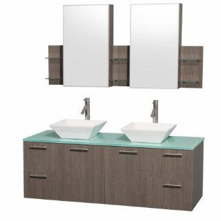 Amare Bathroom Vanity in Grey Oak with Green Glass Top with White Porcelain Sinks   Vanity Sinks