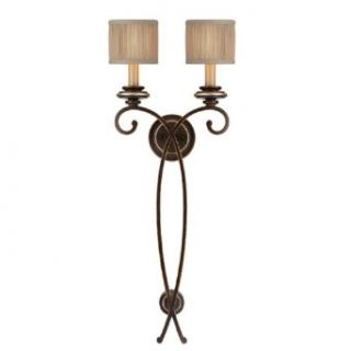Capital Lighting 1957CZ 406 Wall Sconce with Beige Fabric Shades, Champagne Bronze Finish