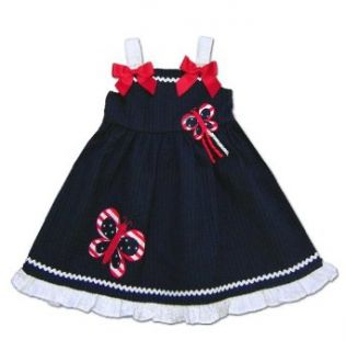 Good Lad Baby Girls Infant Navy Butterfly Applique 4th of July Seersucker Dress, 24 Months Clothing