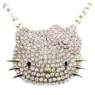 Huge Hello Kitty Crystal CZ Necklace with Pink Bow ships w/FREE gift box by Jersey Bling Jewelry