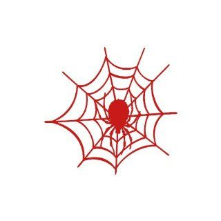 "Spider Web small 3"" Tall RED vinyl window decal sticker"" Automotive"