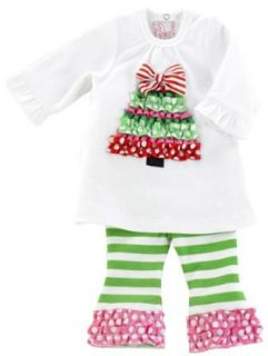 Mud Pie Santa Baby Ruffle Tree Tunic And Leggings Set, White/Green/Red, 0 6 Months Infant And Toddler Clothing Sets Clothing