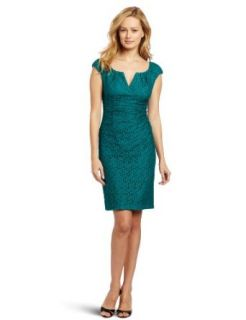 Adrianna Papell Women's Pleated Top Lace Dress, Teal, 6 Adrianna Papell Long Sleeve Lace Dress