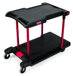 "Rubbermaid Commercial Convertible Service Cart, 2 Shelves, Black, 400 lbs Load Capacity, 34 3/8"" Height, 45 1/8"" Length x 23 13/16"" Width"