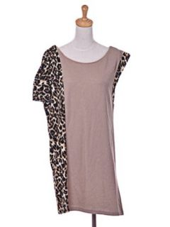 Essential One Sleeve Animal Cheetah Leopard Print Pink Color Mesh Shirt Dress