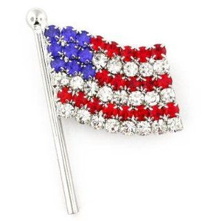 Rhinestone Crystal Patriotic USA American Flag Jewelry Brooch Pin 1 1/4'' Jewelry