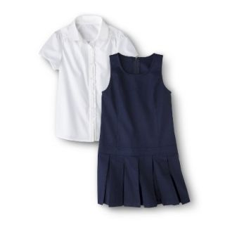 Cherokee Girls School Uniform Short Sleeve Blouse and Jumper Set   Navy 7
