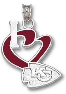 NFL Kansas City Chiefs Heart Enamel Pendant   Sterling Silver  Individual Pendants  Sports & Outdoors